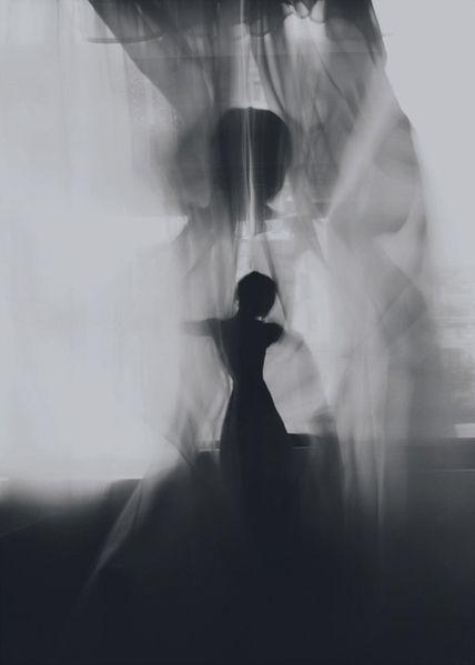 black and white artwork - female silhouette: soul dance   Artist / Künstler: David Galstyan @ behance  