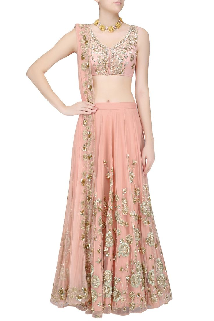Peach zari and sequins floral embroidered lehenga set available only at Pernia's Pop Up Shop.