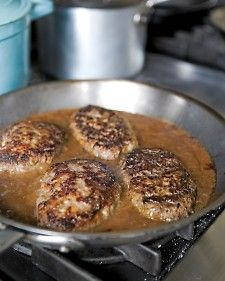 "Salisbury Steak  - one pinner said: ""My husband is still talking about this dinner, and I made it last week!"": Onions Gravy, Salsburi Steaks, Martha Stewart Recipes, Ground Beef, Maine Dishes, Salisbury Steaks Recipe, My Husband, Comforter Food, Beef Pork"