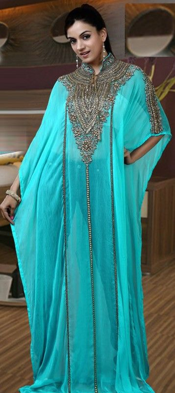 325083, Kaftan, Georgette, Machine Embroidery, Sequence, Stone, Patch, Lace…