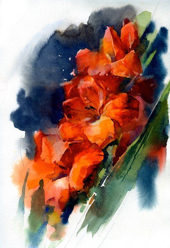 Alexey Yermolin. Watercolor Pictures-Gladiolas
