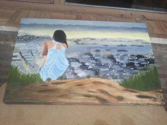 Óleo sobre lienzo. Chica observando la ciudad