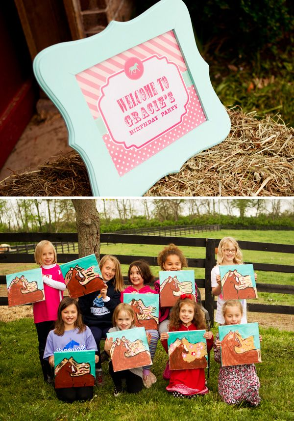 Pink & Teal Horse Themed Birthday Party