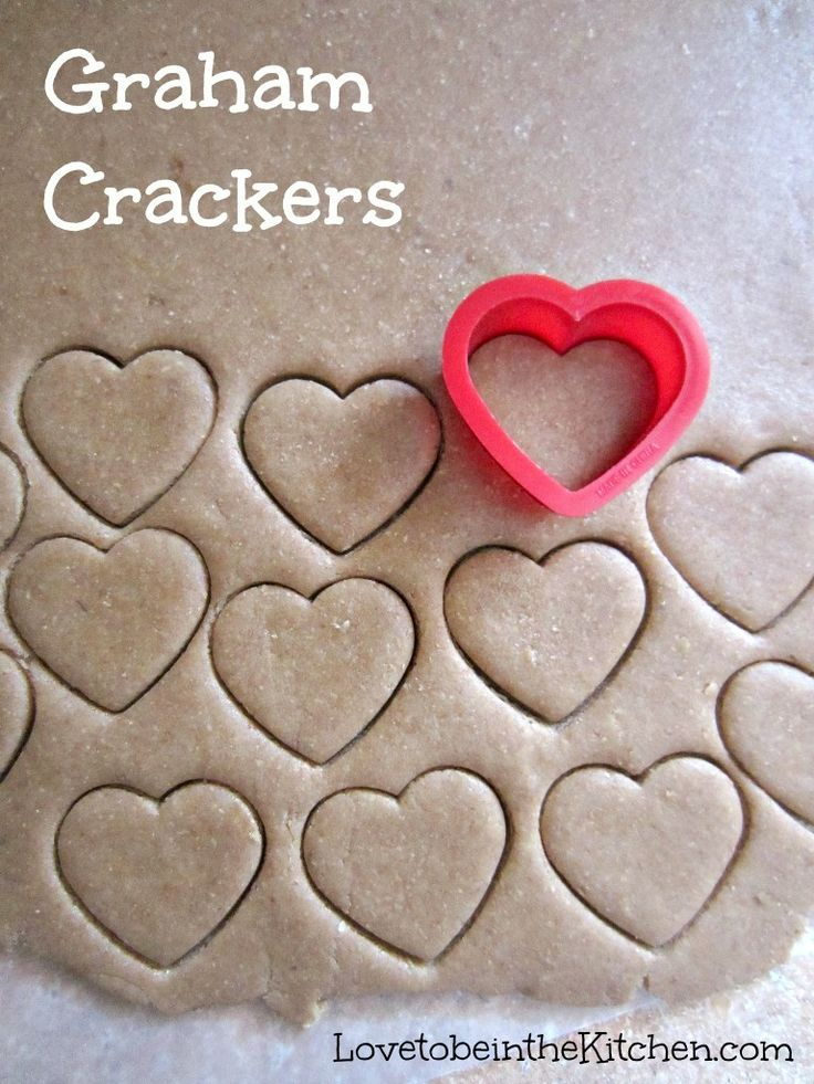 Graham Crackers- So easy and fun to make! You can cut it with any shape you'd like or cut it into graham cracker shapes. These cute heart shaped ones would be a perfect snack for Valentine's day! This would be great with chocolate fondue. #valentines #snack
