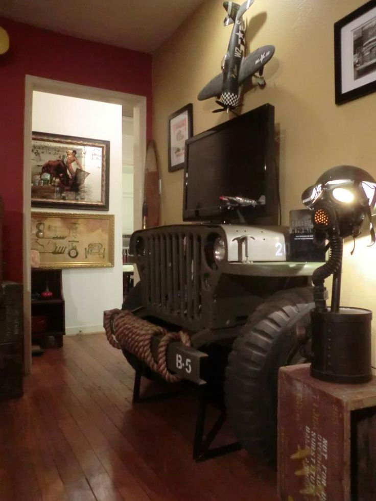 Jeep Willys TV Stand - a possible #DIY project? Click on the image for more photos.