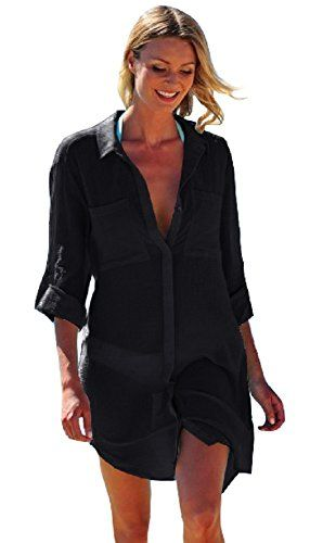 dc89476c46 NFASHIONSO Women's Sexy Cotton Deep V Neck Swimsuit Cover up/Beachwear Dress