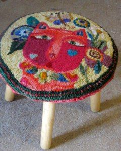 78 Best Images About Hooked Rug Foot Stools On Pinterest