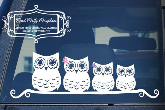 Stick family Owl family vinyl vehicle decal by GoodGollyGraphics, $12.00
