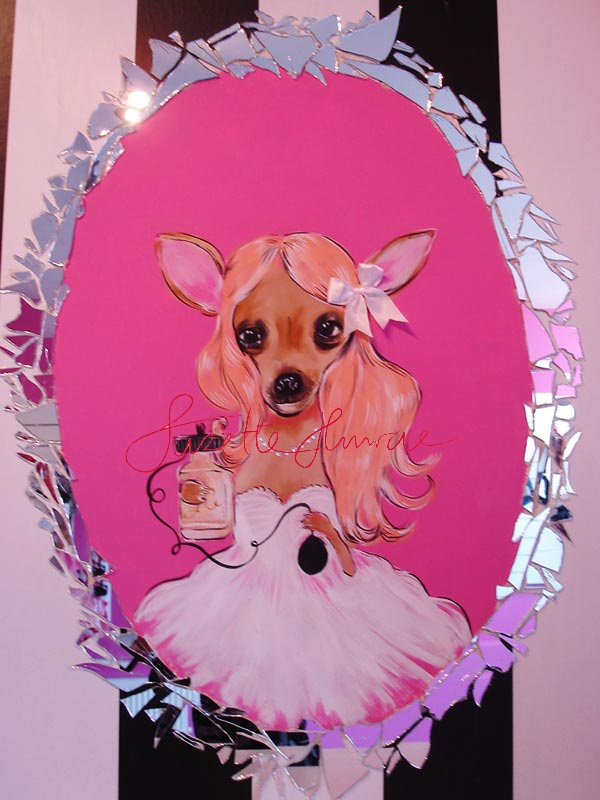 Suzette paints on walls.  This is a wall for a Dogshop in Amsterdam. VIPDOG. A chiuaua who looks in a mirror the frame are real mirror pieces!!