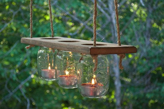 Outdoor Mason Jar and Wood Candle Chandelier