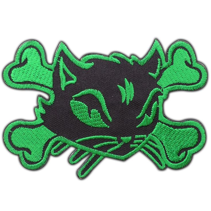 Green Cat Skull Crossbones Biker Rider Kitty Embroidered Iron-On Patches #0637 #YippeeAmiley