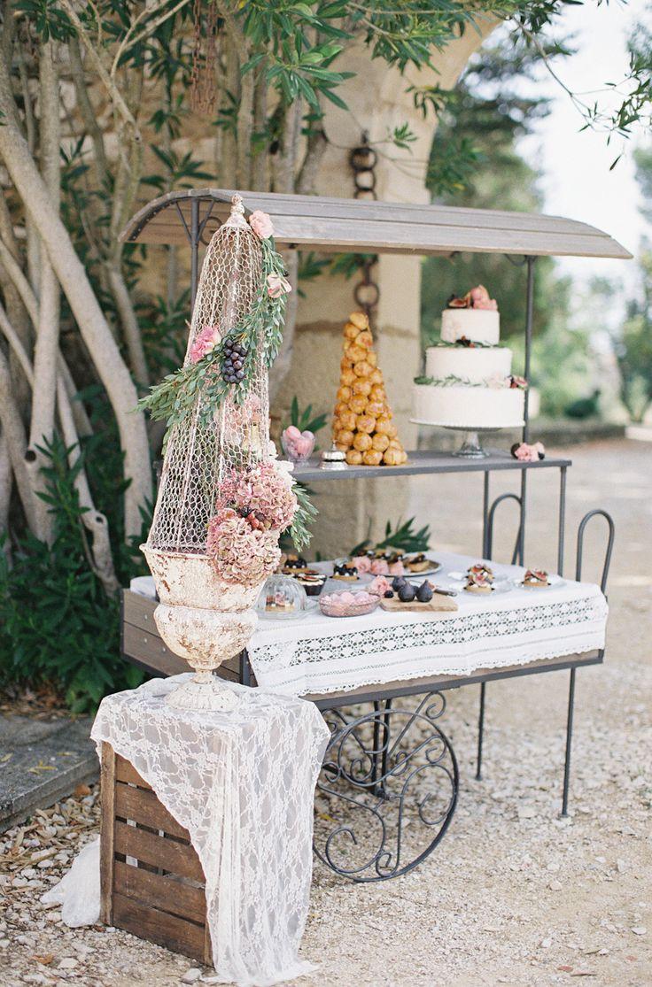 French style dessert bar | Photography: Cat Hepple | omantic Provencal Wedding Inspiration