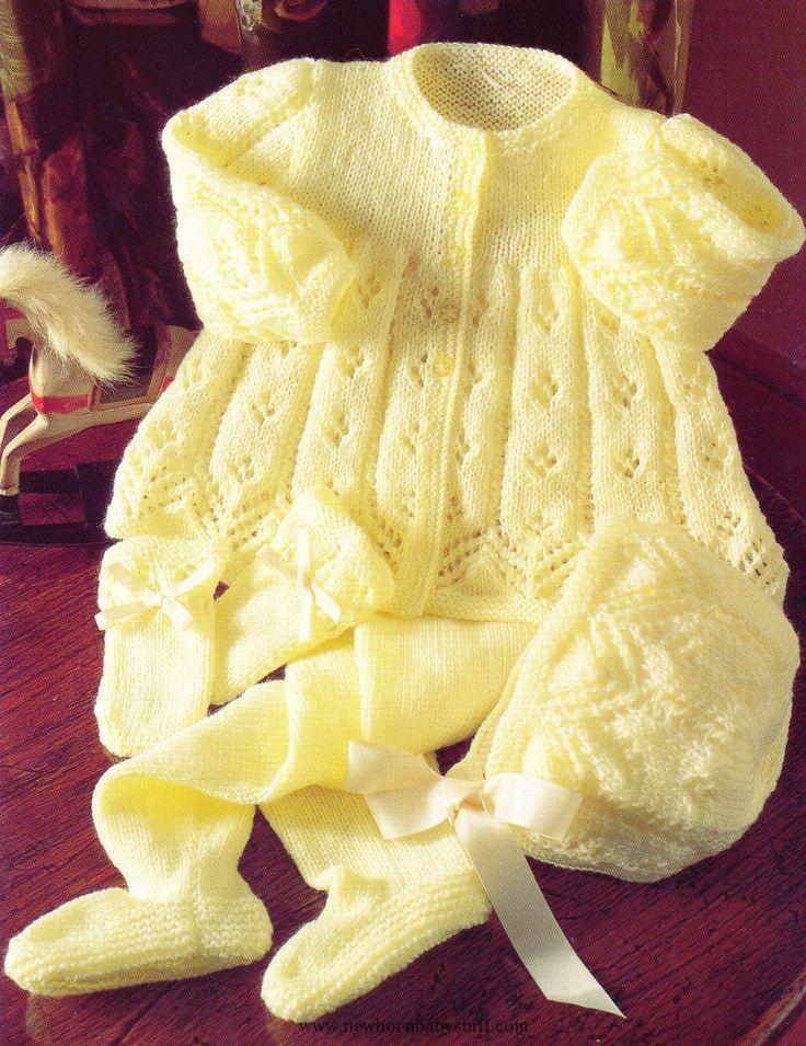 Baby Knitting Patterns Baby Knitting Pattern 4 Ply Matinee Cardigan Pram Set 16 -22...