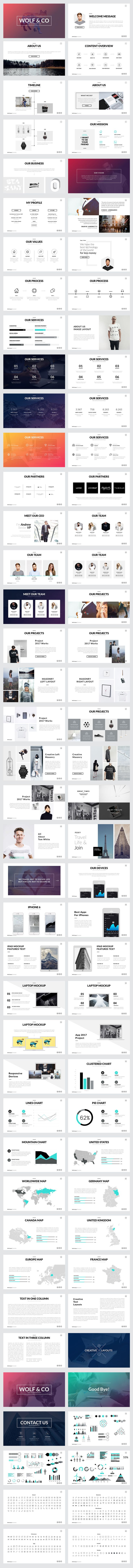 Wolf Minimal Keynote Template by Slidedizer on @creativemarket                                                                                                                                                                                 More