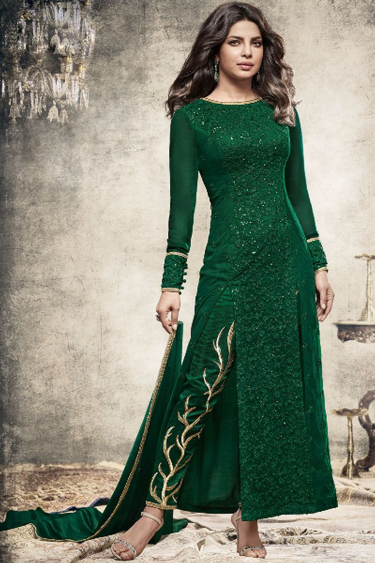 Beautiful Green Georgette Fabric Embroidered Indian ...