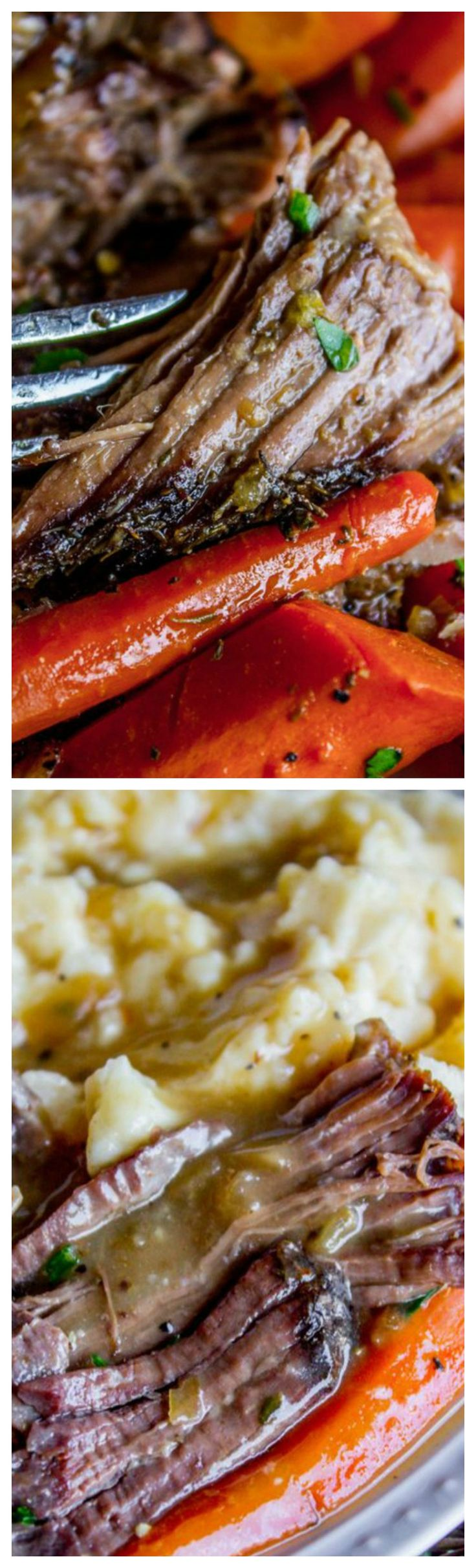 Easy Fall-Apart Pot Roast with Carrots (Slow Cooker) ~ Super tender and juicy.