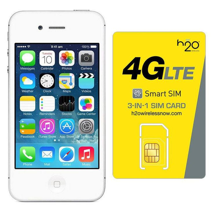 Refurbished Apple iPhone 4 AT&T White 16GB & H20 4G LTE SIM Card (1GB Data Included)