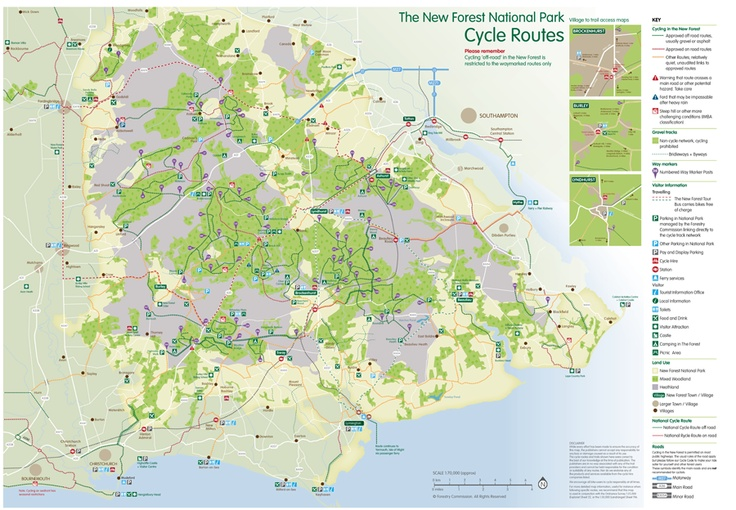A cycle map of the New Forest, created by In-Text Design for the Forestry Commission
