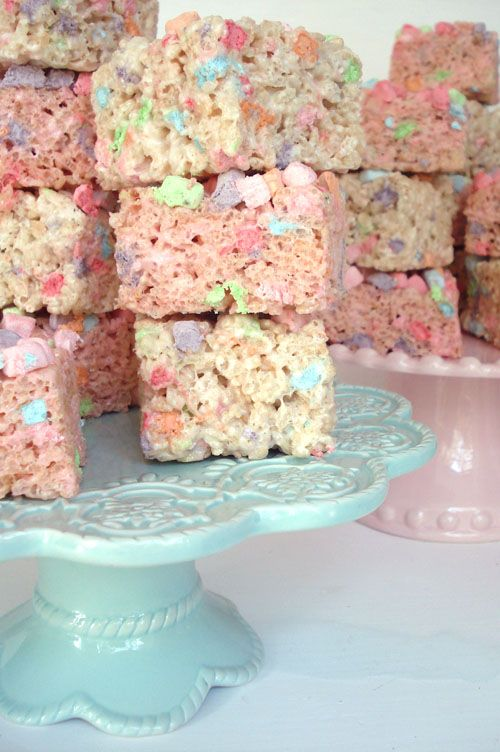 pastel rice krispie treats.   really cute party snack. little girl party.