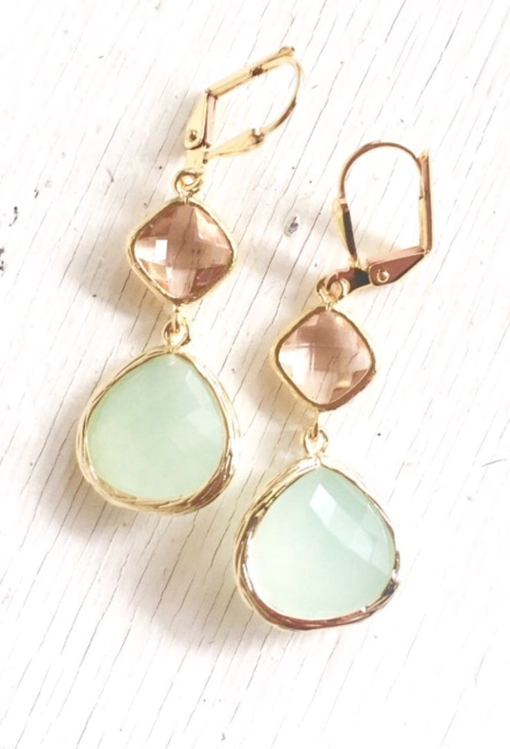 Light Mint And Champagne Dangle Earrings In Gold Spring Wedding Gifts For  Bridesmaids See
