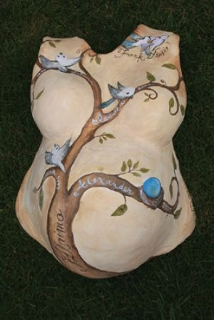 Belly cast decorated with birds