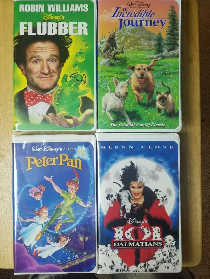 Lot of 4 Disney vhs tapes:  Flubber,  Incred. Journey, Peter Pan, 101 Dalmations