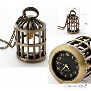 Uhrenkette / Taschenuhr vintage Vogelkäfig mit Vogel...