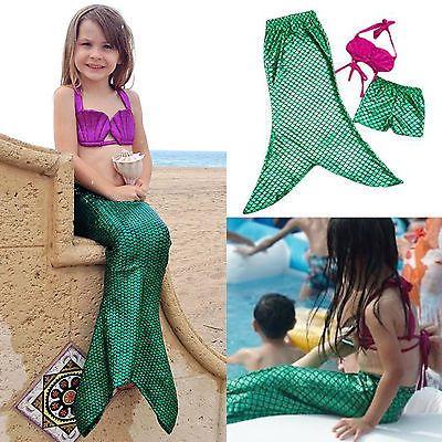 Kinder Mädchen Schwanzflosse Meerjungfrau Kostüm Badeanzug Bademode Bikini Set