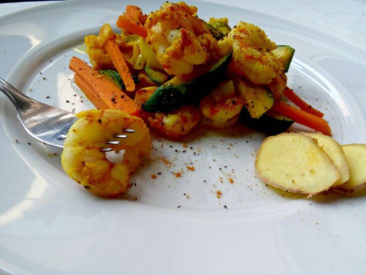 Gamberi con verdure e ginger
