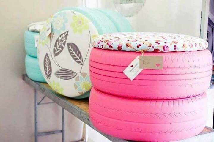 Recycling idea: use old tires, paint them, put fun outdoor fabric on them and…