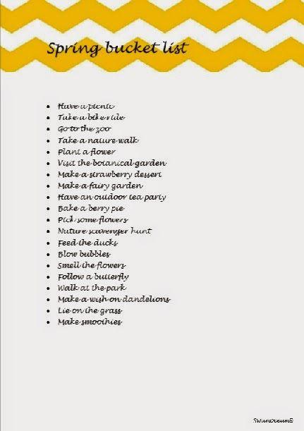 Spring bucket list-Ανοιξιάτικη λίστα δραστηριοτήτων