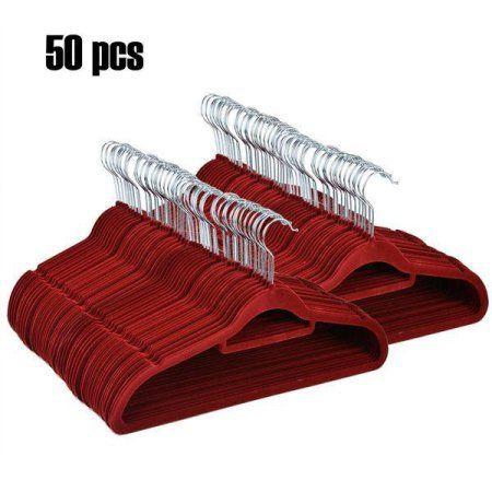 50 Pack Premium Velvet Suit Hangers Heavy Duty Non Slip by Utopia Home Wine Red