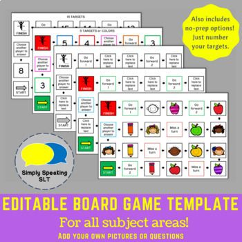 The 25 best board game template ideas on pinterest kids board editable board game templates for all subject areas with a no prep option pronofoot35fo Image collections