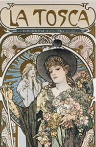 Theatre poster by Alphonse Mucha. La Tosca by Victorien Sardou was first performed in Paris in 1887 with Sarah Bernhardt in the title role and became extrememly popular.