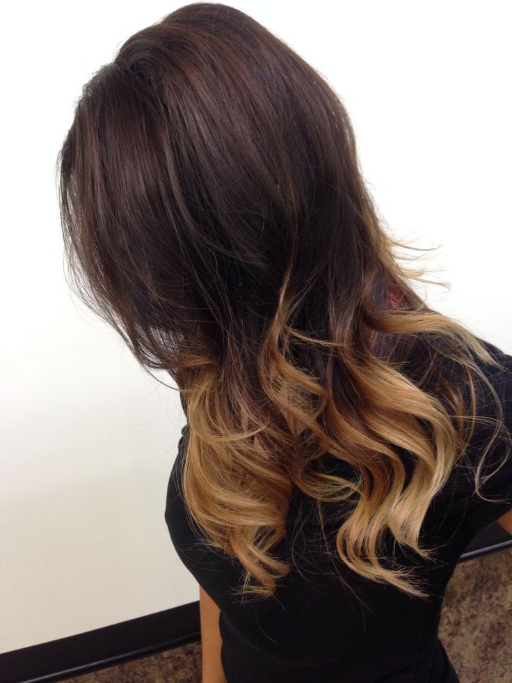 Ombre dark brown to blonde medium length hair | Hair and ...  Ombre dark brow...