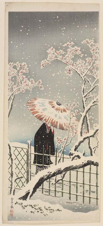 'Plum Blossoms in Snow' (circa 1936). Woodblock print by Takahashi Hiroaki (Shôtei) (1871–1945).