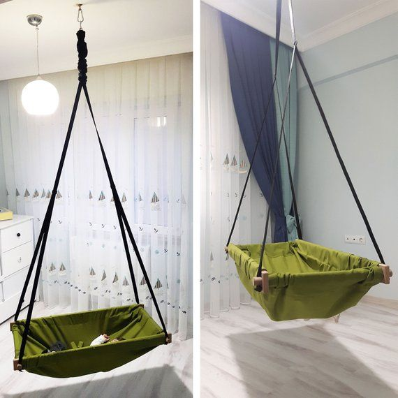 Hanging Toddler Baby Wood Porch Swing Hammock For Indoor And Etsy Wooden Hammock Hammock Swing Baby Hammock Swing