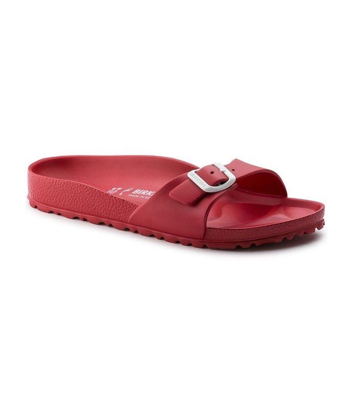 "Birkenstock ""Madrid"" red-EVA buckled-one-strap waterproof flat sandal with moulded footbed"