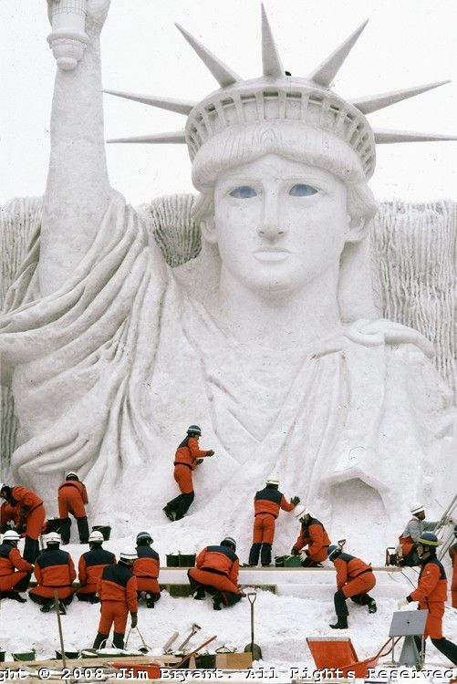 Snow statue of Lady Liberty. Ice and Snow Sculpture Festival in Sapporo, Japan. 2008 photo by Jim Bryant.