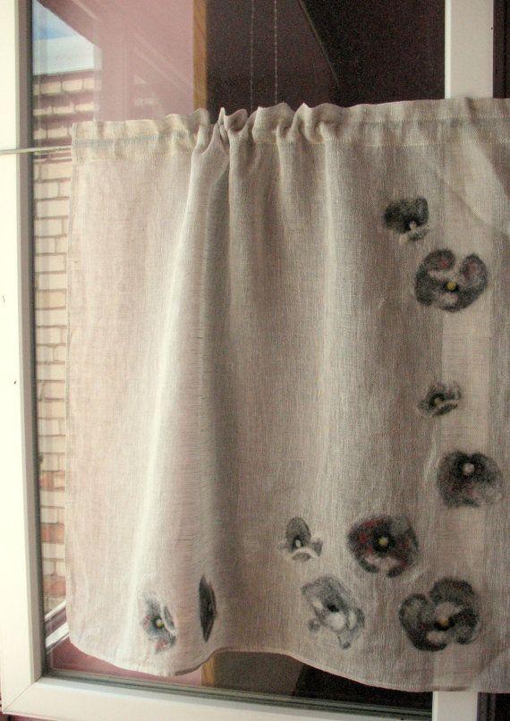 Rideau toile de jute rideaux Cafe rideaux naturel par Initasworks                                                                                                                                                                                 Plus