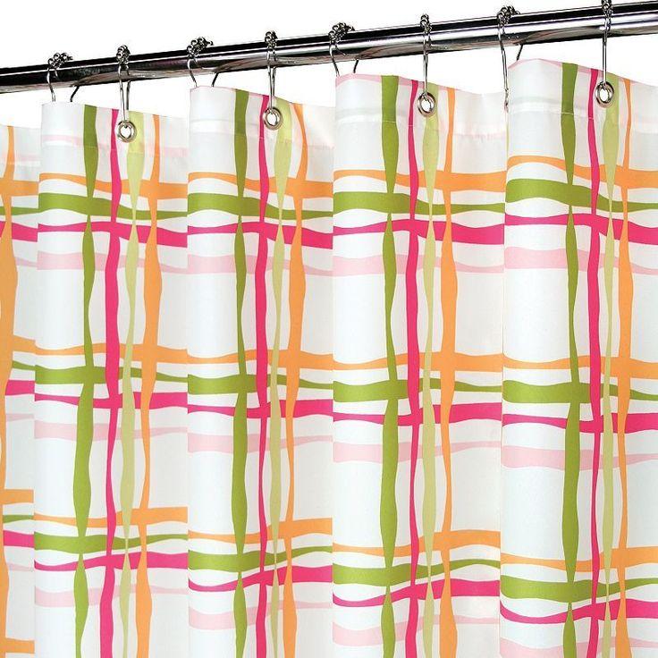 Park B Smith Wavy Plaid Fabric Shower Curtain Orange