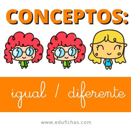 3 fichas de trabajo para aprender el concepto: igual / diferente.  http://goo.gl/O4rXlI  #infantil #niños #aprender #apoyo #materia #clase