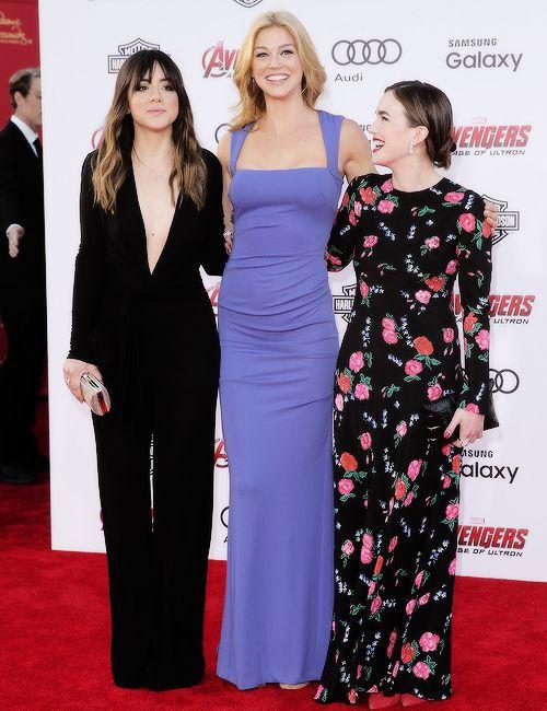 Adrienne Palicki, Chloe Bennet & Elizabeth Henstridge a the Avengers: Age of Ultron World Premiere