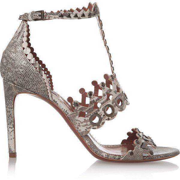 Alaïa Laser-cut embellished lizard sandals ($860) ❤ liked on Polyvore featuring shoes, sandals, grey, strappy sandals, high heel sandals, grey shoes, alaia sandals and embellished sandals