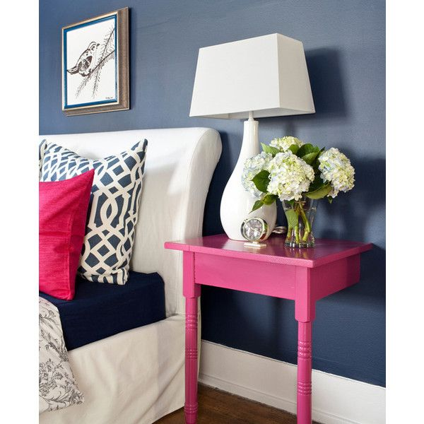 Bold Inspiration Hot Pink And Navy Blue Rooms Liked On Polyvore Pinterest Bedroom Diy Nightstand Home