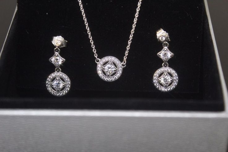 Authentic PANDORA Vintage Allure Necklace Earrings Gift set in original gift box #PANDORA