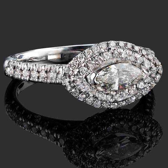0.87 TCW Marquise Cut Diamond Engagement Ring, Marquise Cut Ring, Marquise Engagement Ring, Double Halo Diamond Ring, 14k White Gold Ring