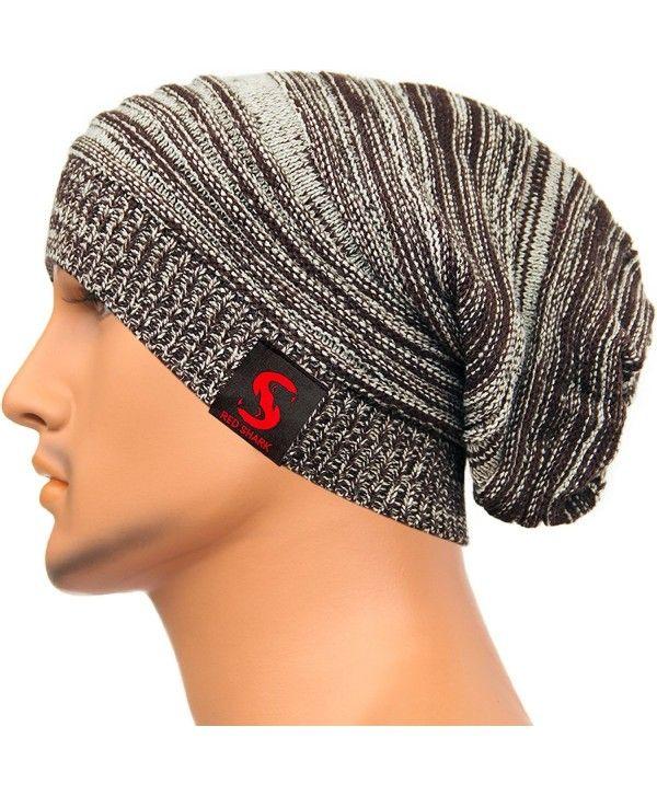 4a1ed8043d11a Unisex Baggy Beanie Slouchy Knit Caps Skull Hats Stripe Design XHX1017 -  Coffee - CC128YYTT5R