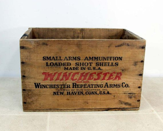 Vintage Rustic Wood Ammo Crate Industrial Storage