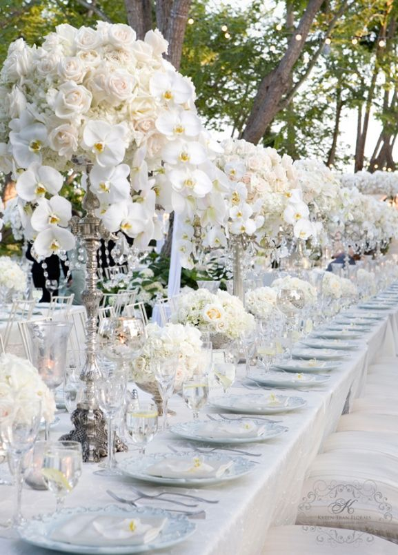 Wedding Reception Decorations | luxury white and silver wedding reception theme ideas
